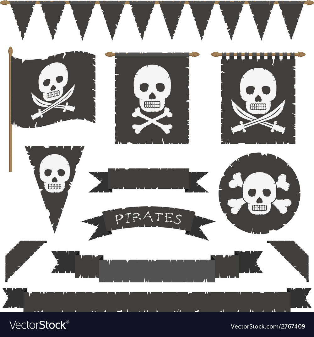Pirate flags vector image