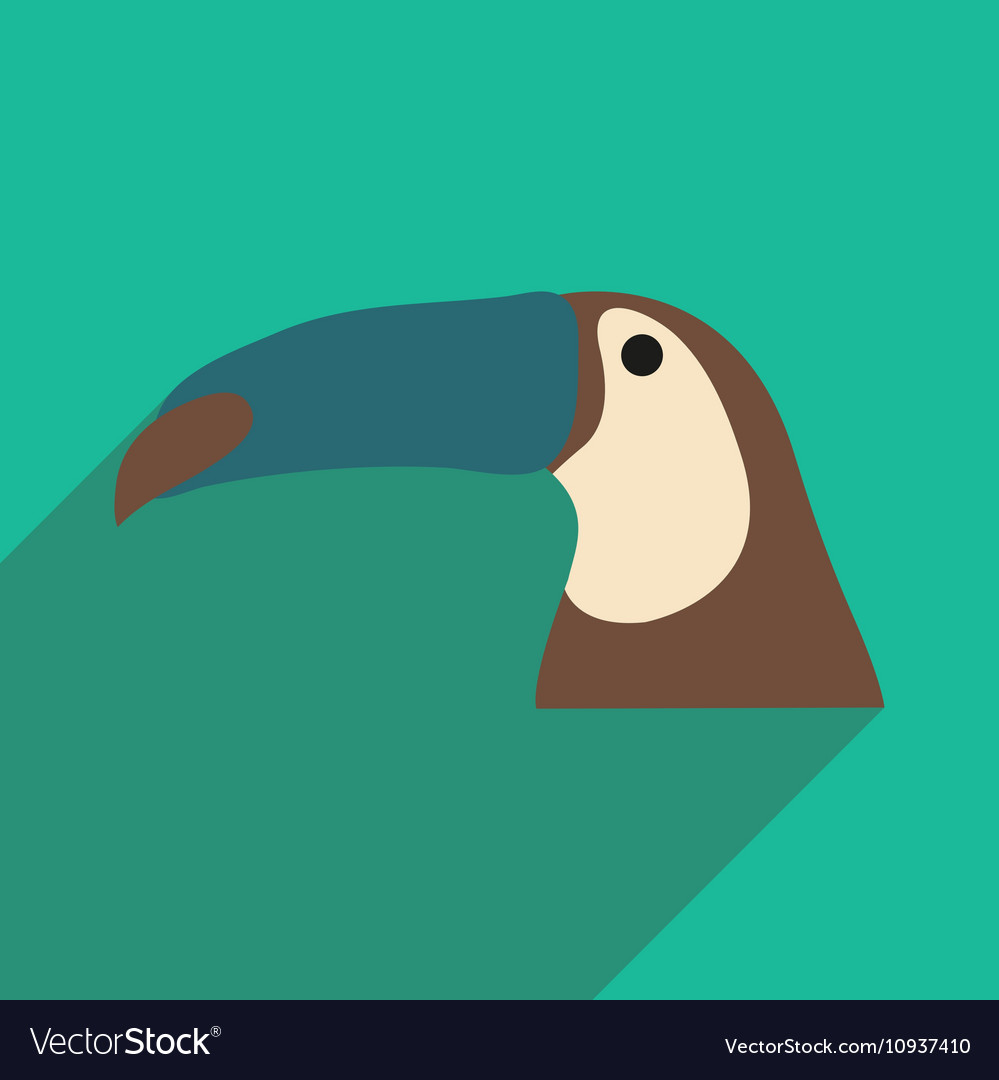 Flat icon with long shadow Brazilian toucan