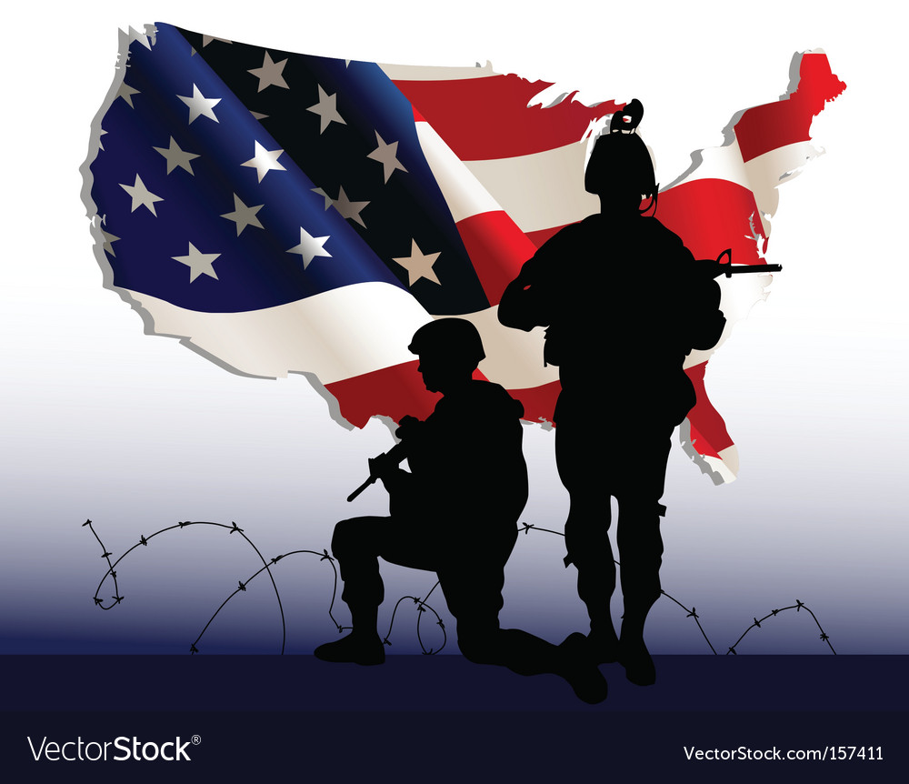 American soldiers vector image