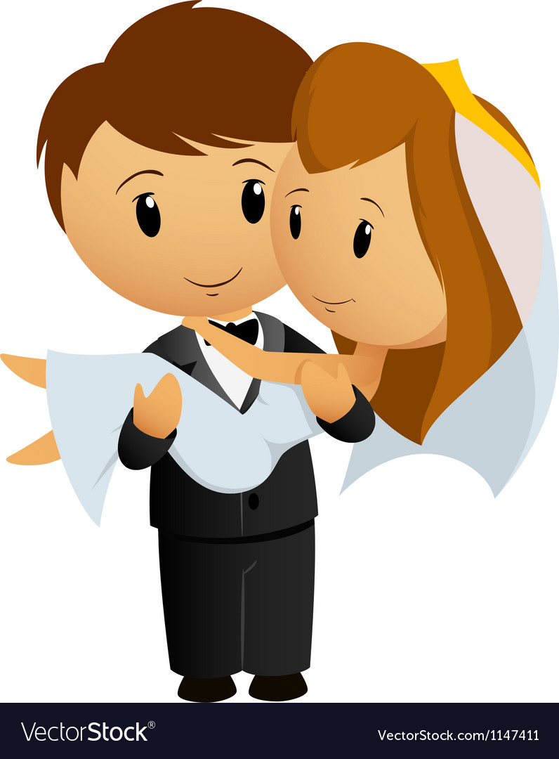 Groom hold bride vector image