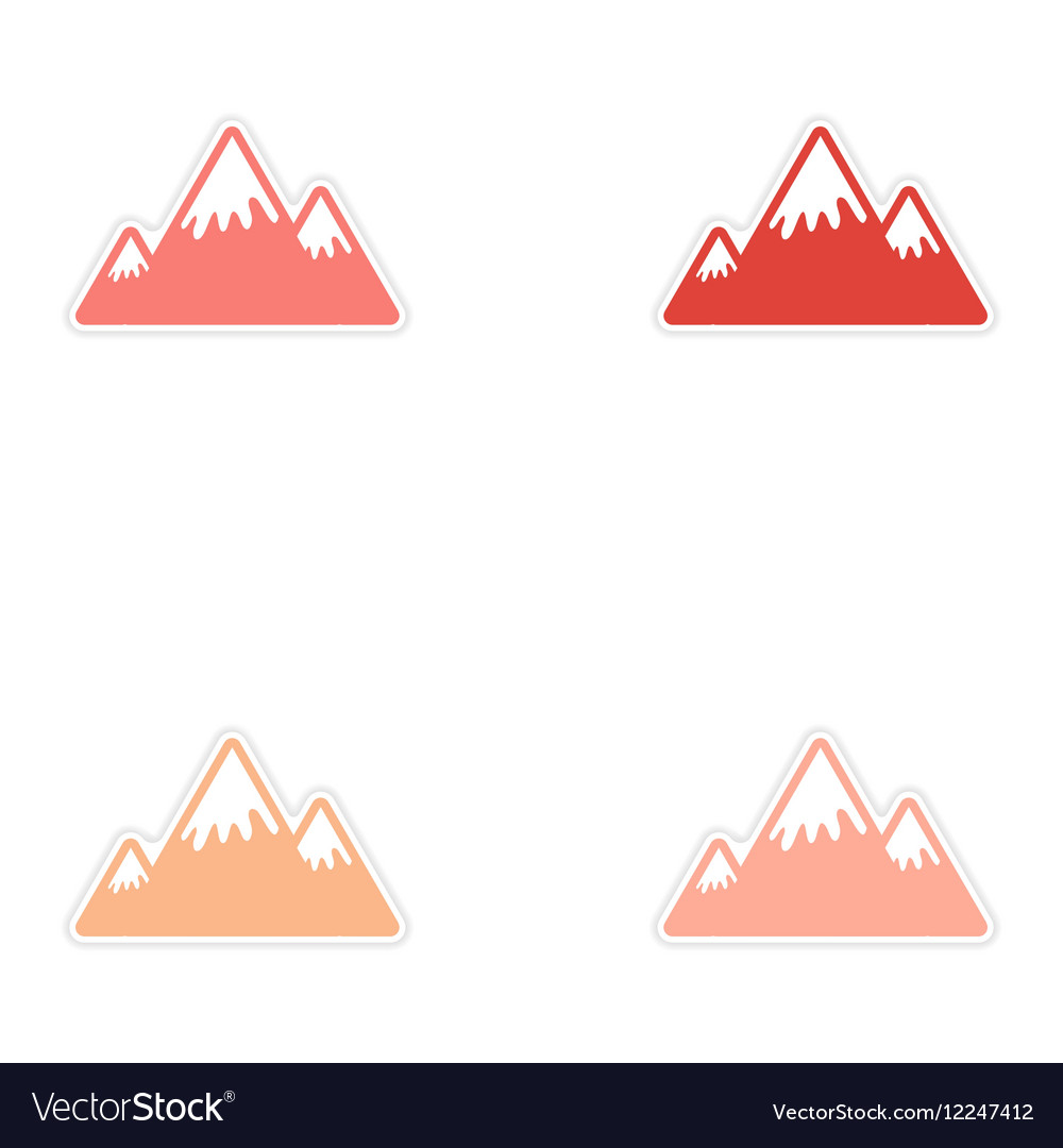 Set of stickers Canadian mountain on white