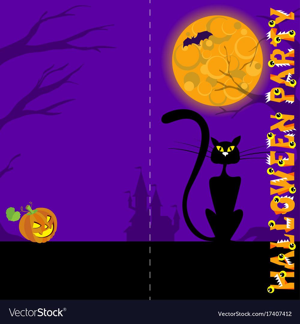 Background with castle bat moon pumpkin black vector image