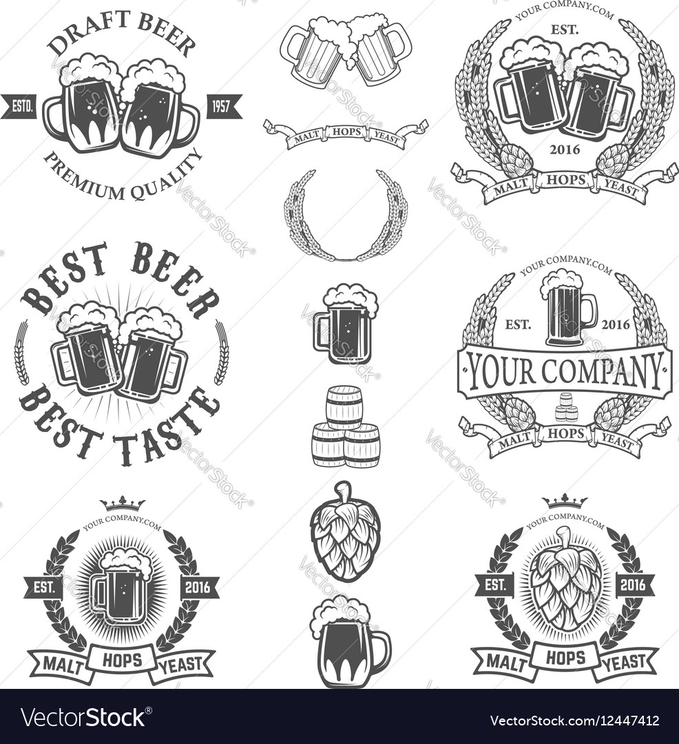 Set of labels templates with beer mug isolated on vector image