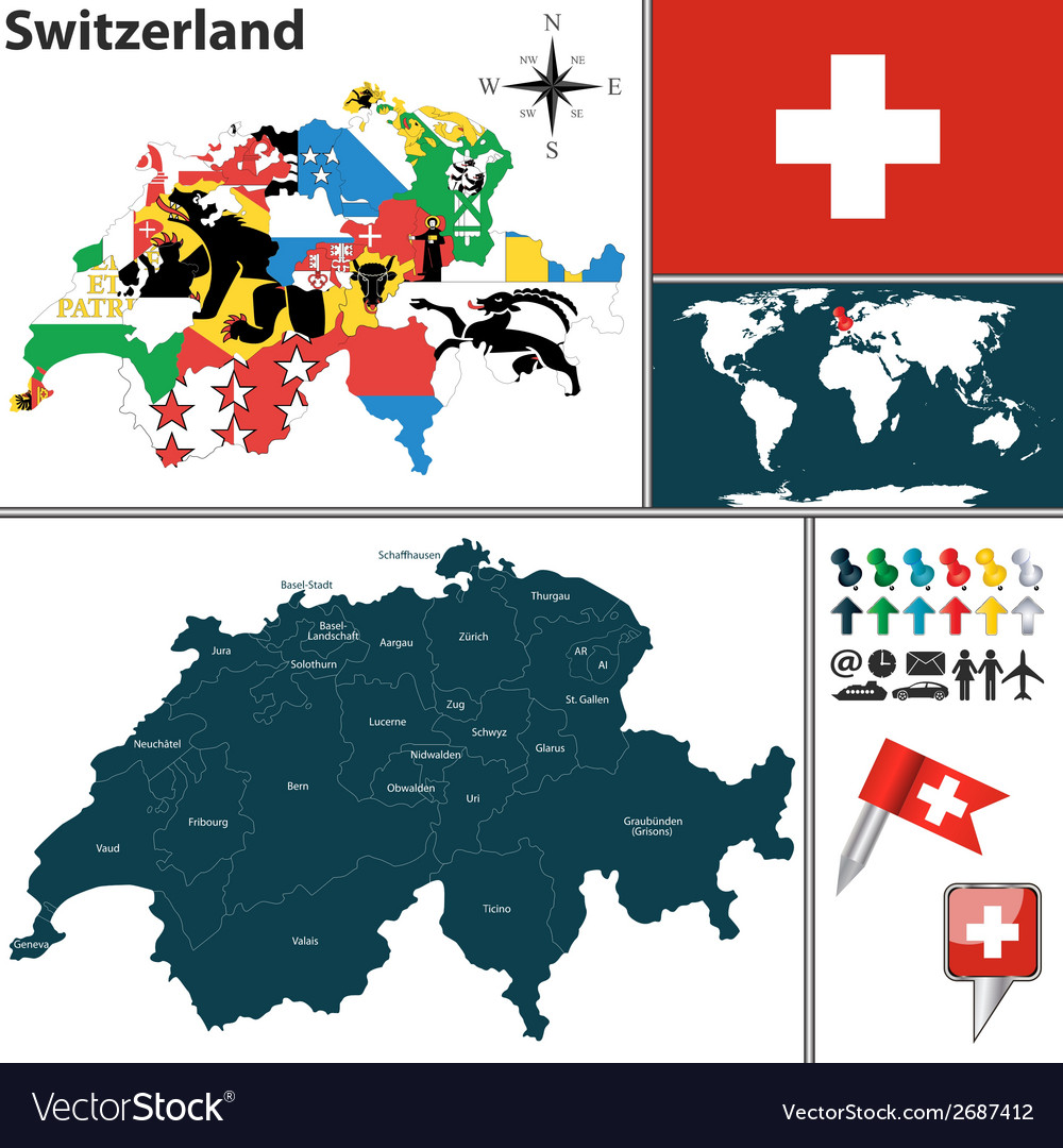 Switzerland map with regions and flags Royalty Free Vector