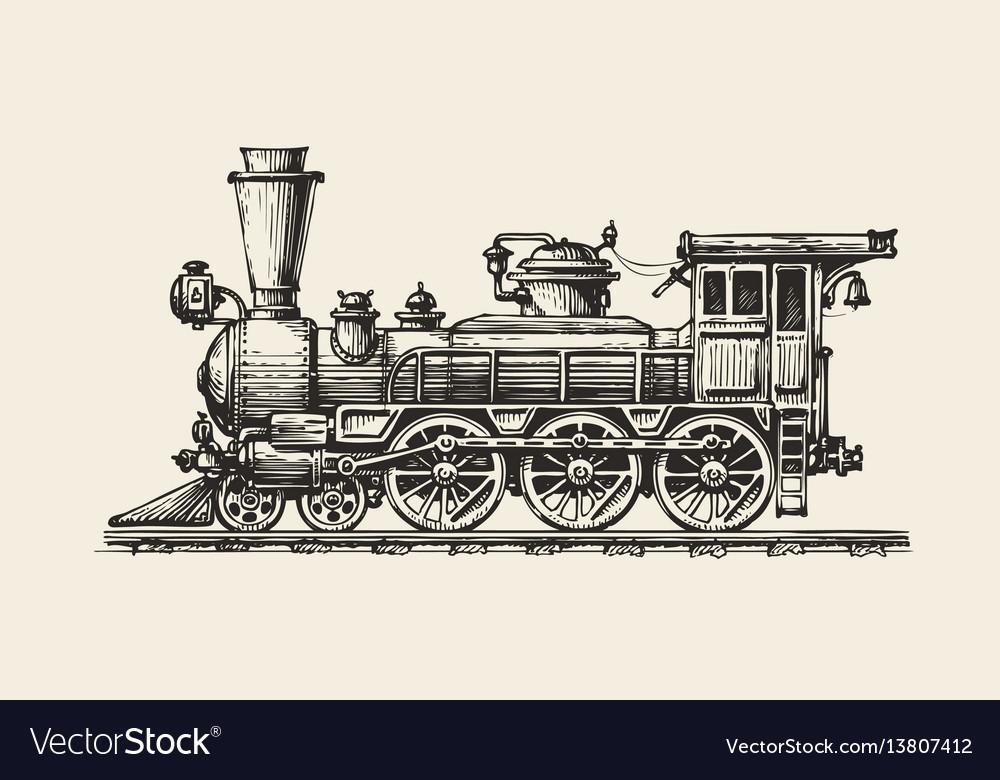 Vintage locomotive hand-drawn retro train sketch vector image