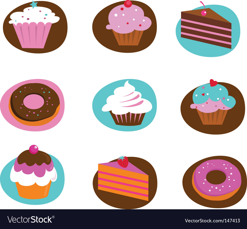 Food and kitchen icons cakes vector image