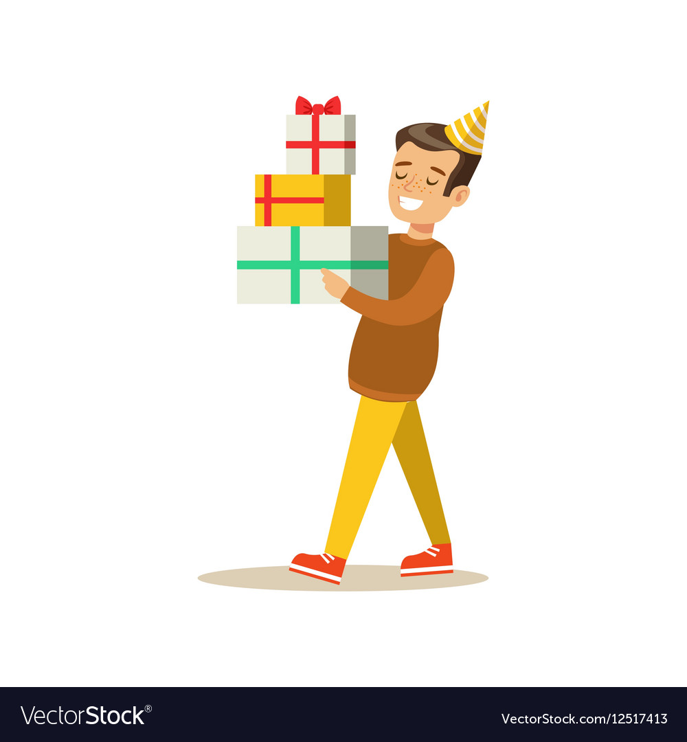 Boy Carrying Piled Presents Kids Birthday Party vector image