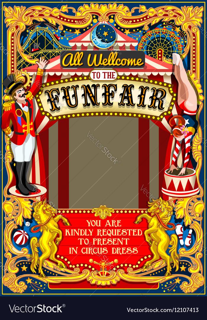 Circus Carnival Frame vintage 2d AurielAki vector image