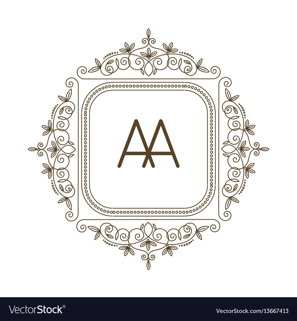 Monogram a logo and text badge emblem line art vector image