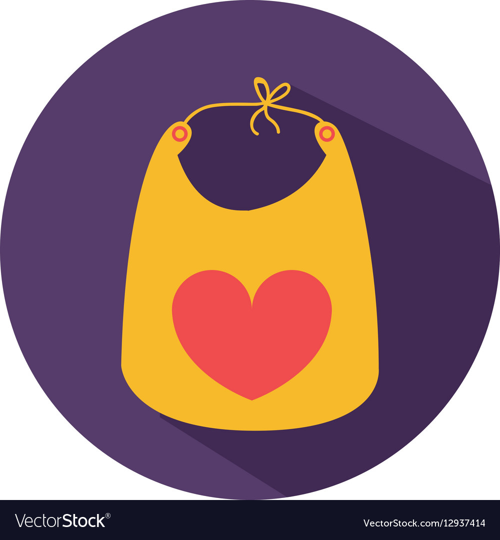 Color silhouette with baby bib in round frame vector image