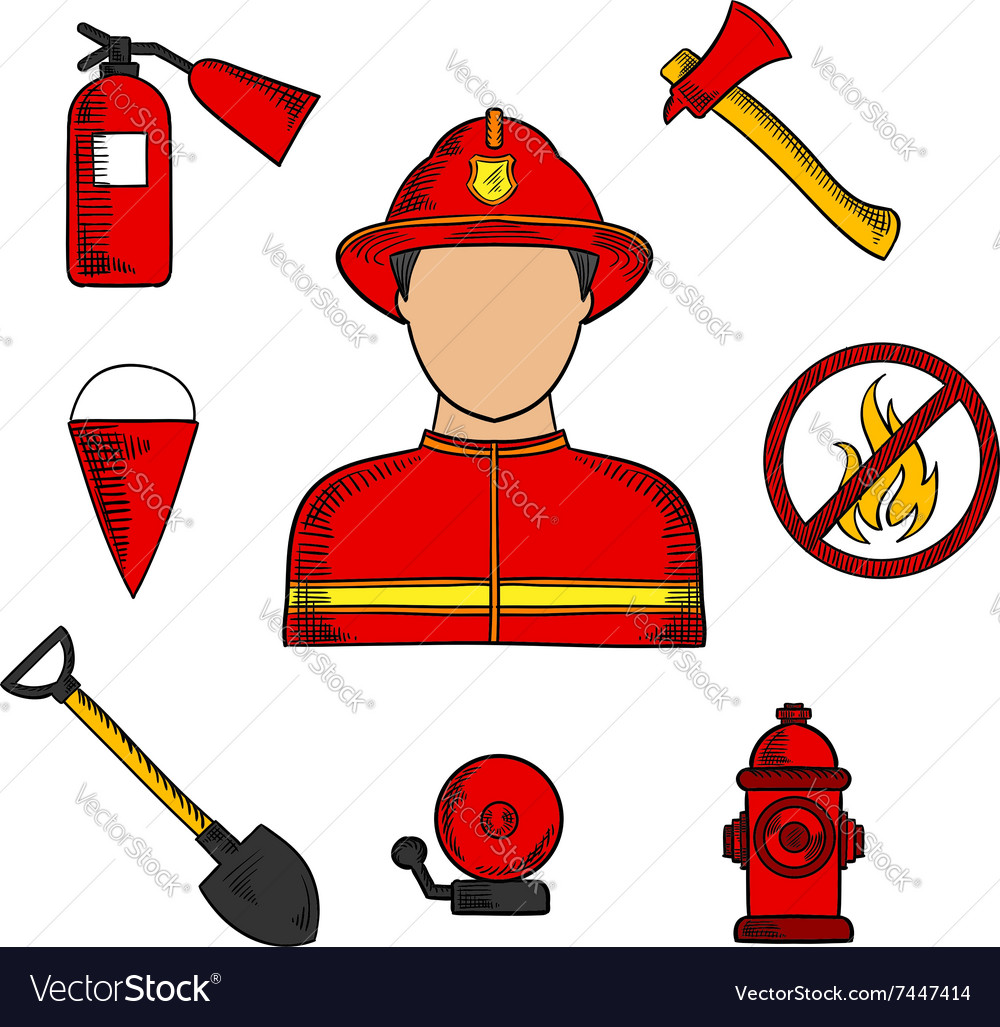 Fireman And Fire Fighting Symbols Royalty Free Vector Image