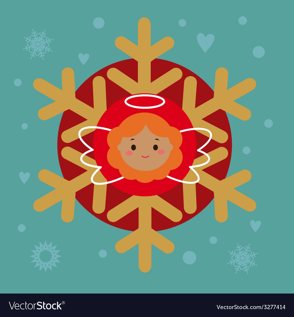 Holiday card with snowflake and angel vector image