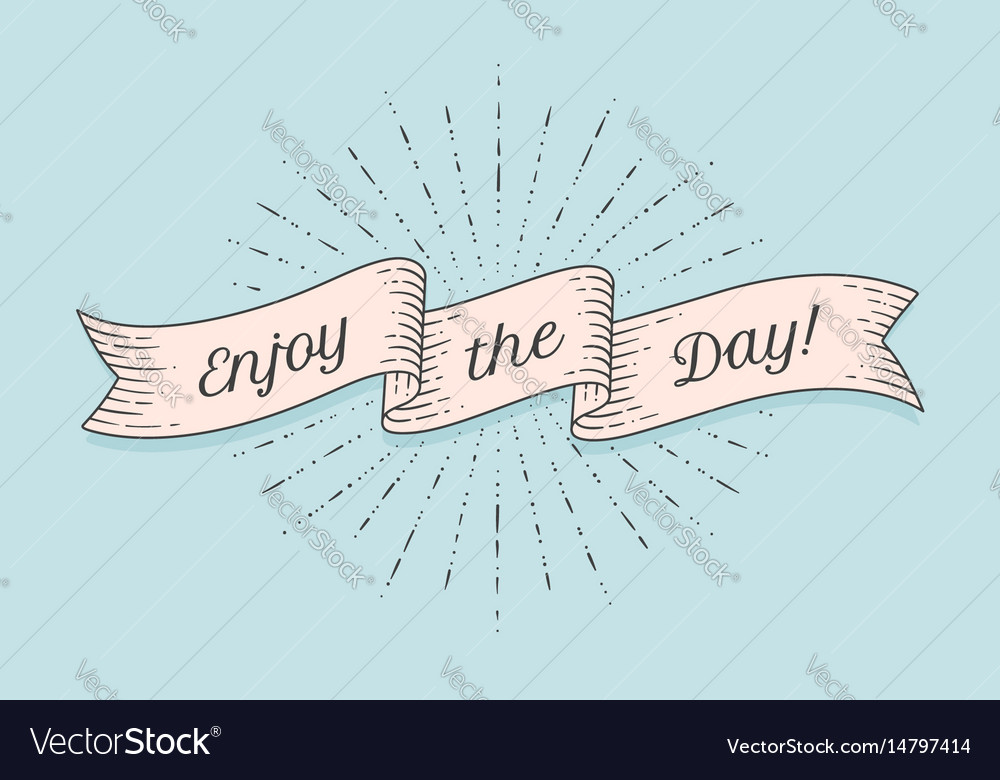 Ribbon with text enjoy the day vector image