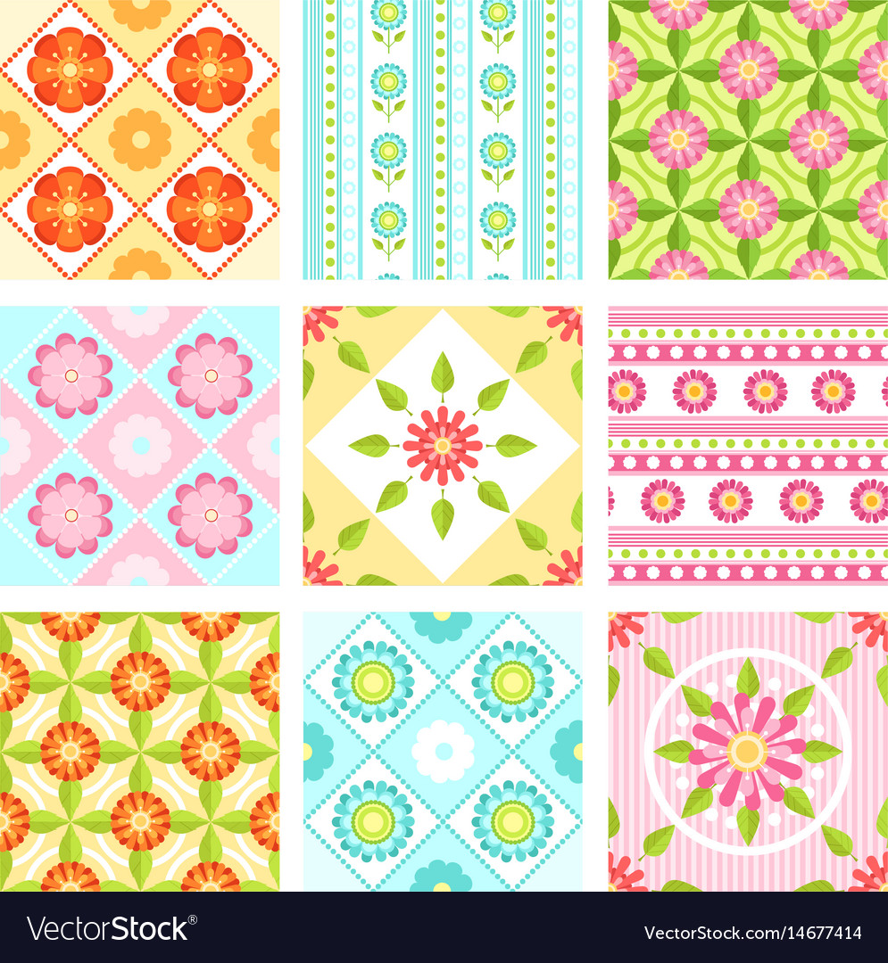 Set of floral seamless pattern with different vector image