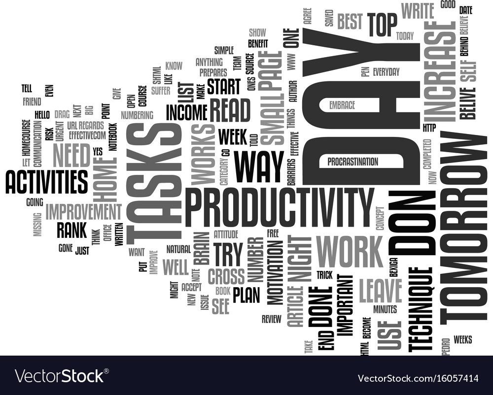 The increase in productivity technique text vector image