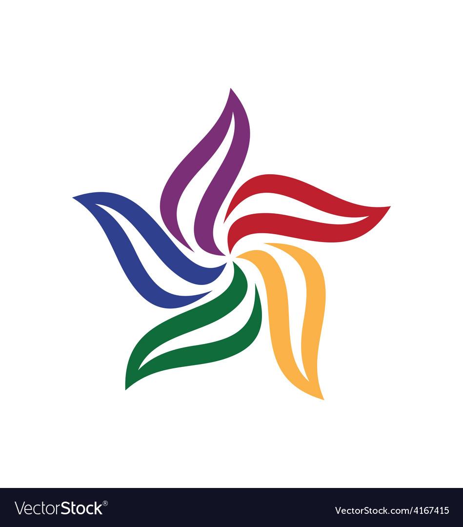 Circle leaf color logo vector image