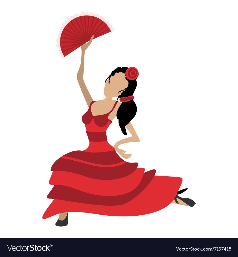 flamenco dancer cartoon icon royalty free vector image