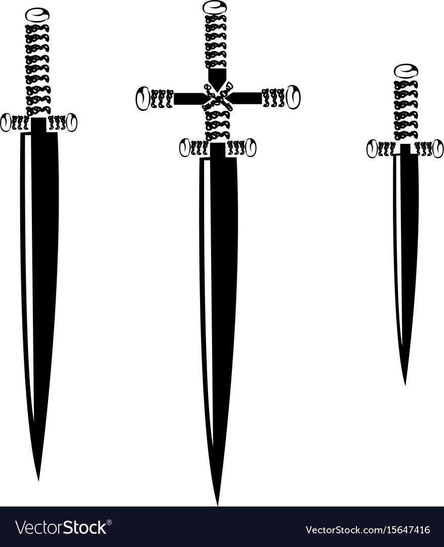 Sword silhouette set vector image