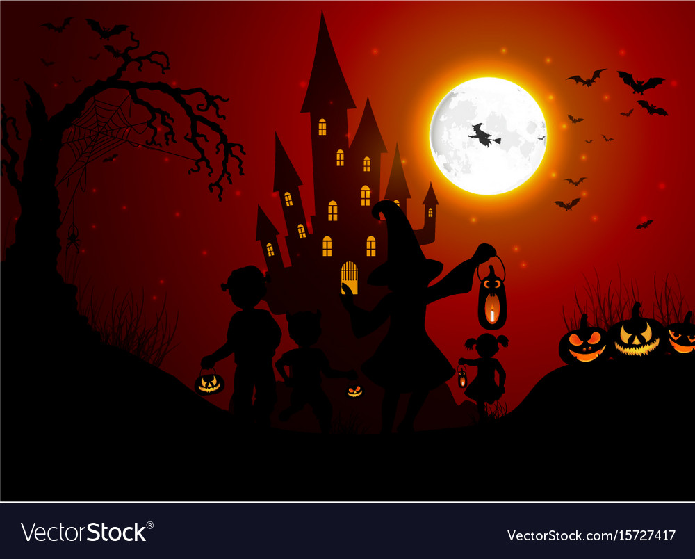 Halloween background with silhouettes of children vector image