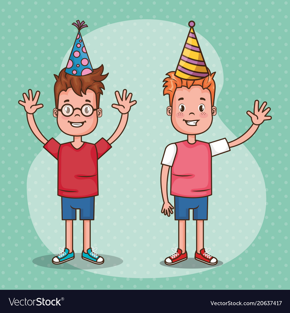 Happy birthday card with little kids royalty free vector happy birthday card with little kids vector image bookmarktalkfo Gallery
