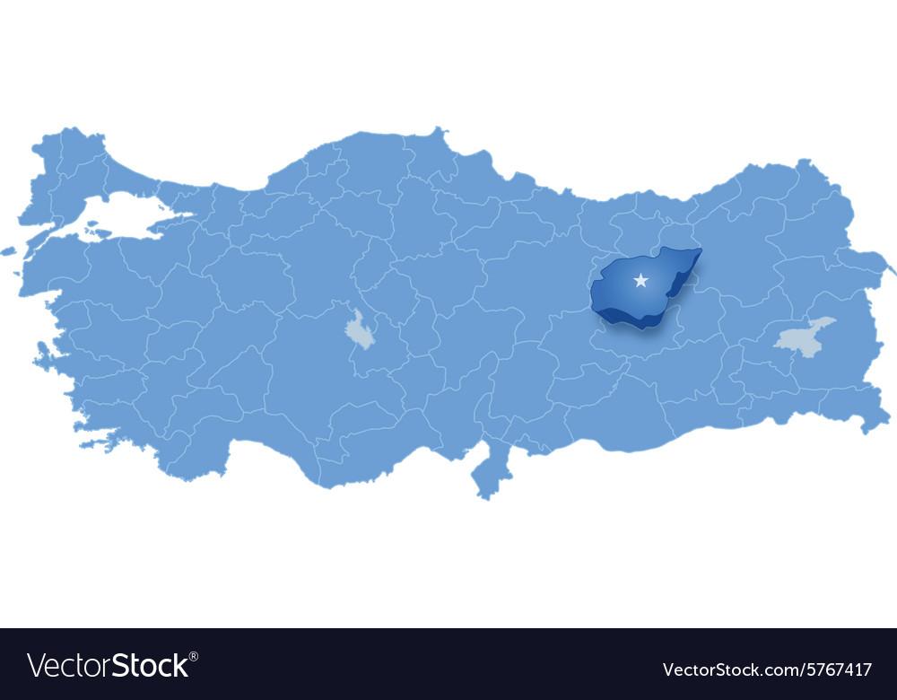 Map of Turkey Tunceli Royalty Free Vector Image