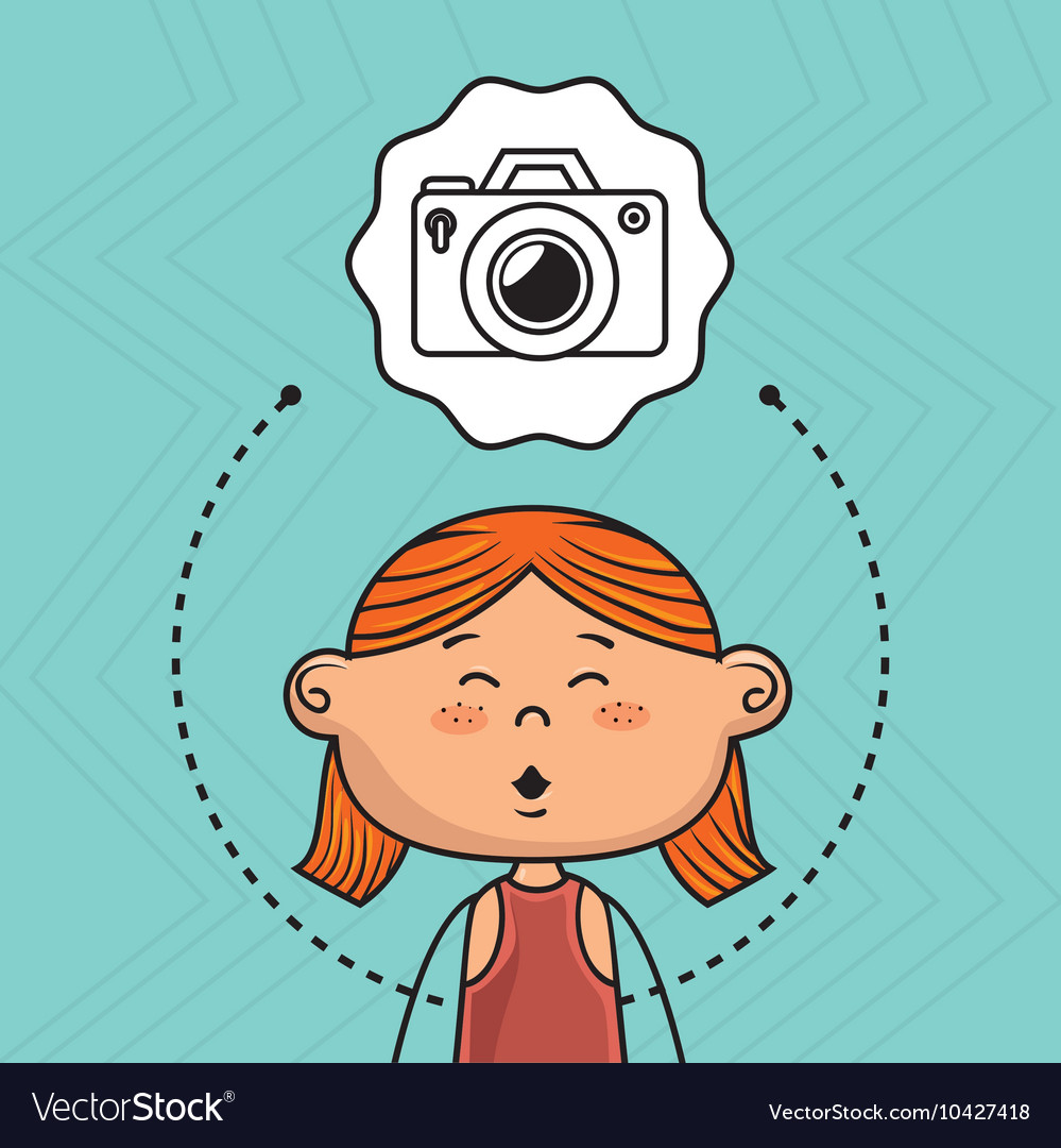 Cartoon girl school icon vector image
