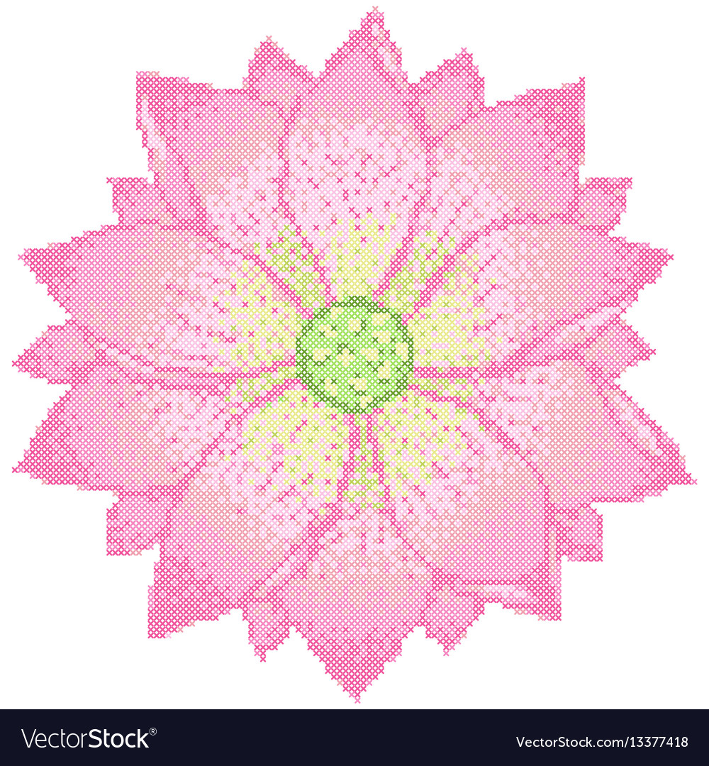 Cross stitch lotus vector image