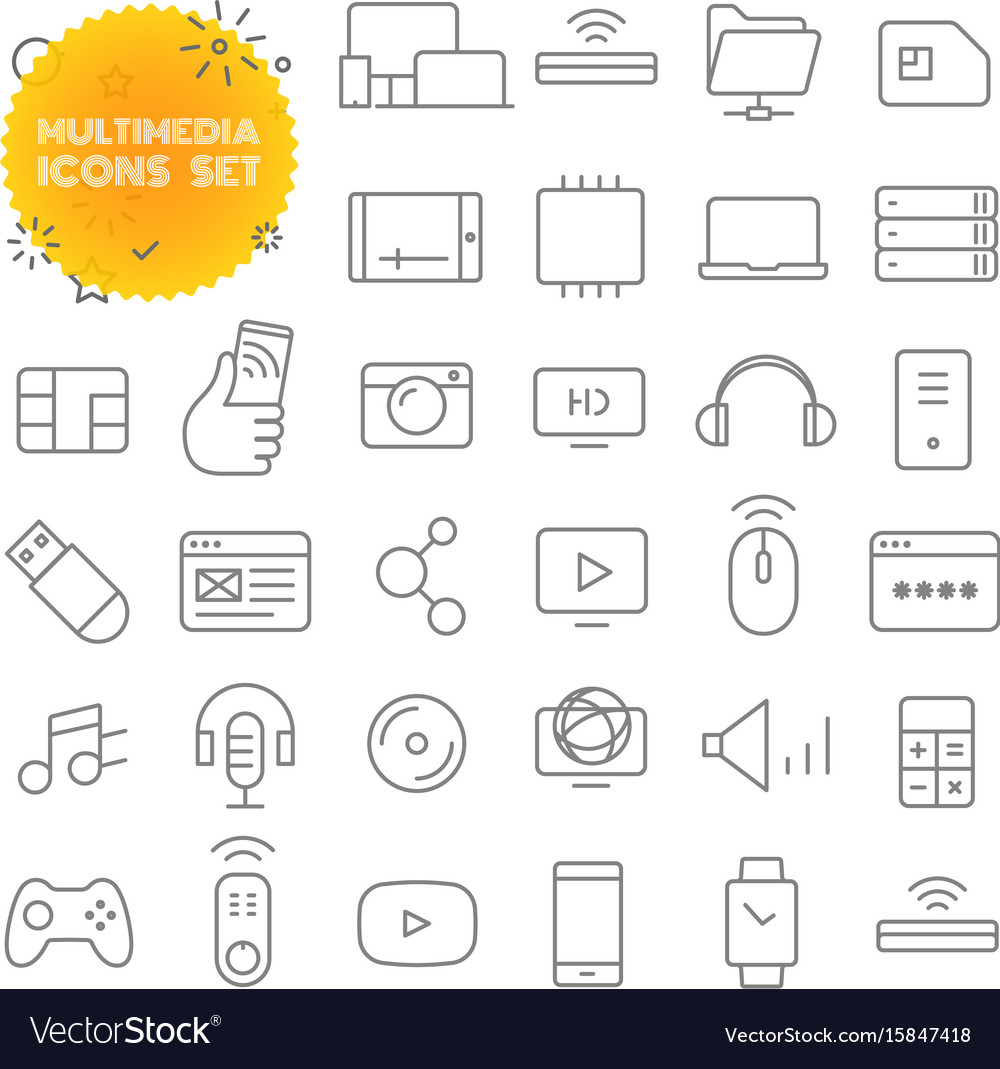 Multimedia outline icon set pictogram set vector image