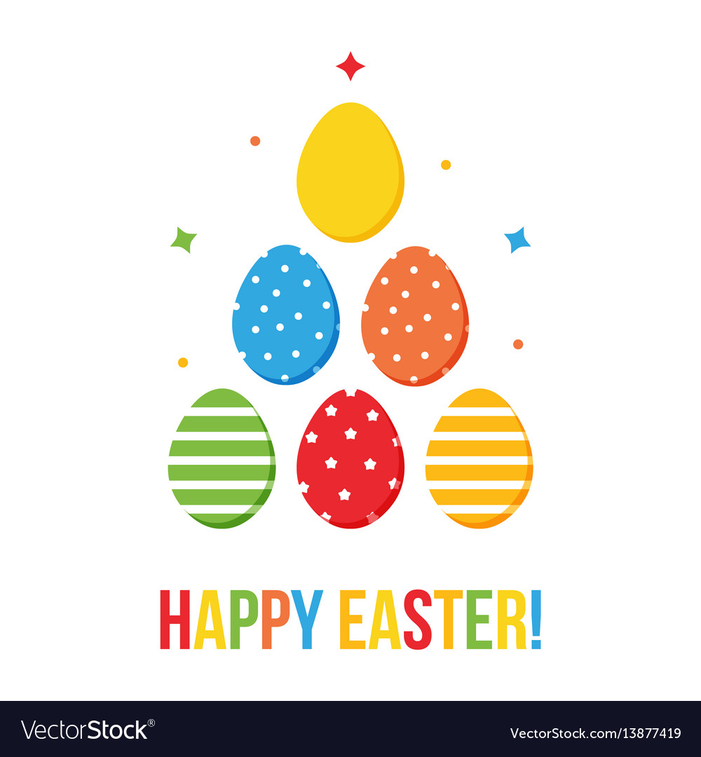 Colorful flat design happy easter card vector image