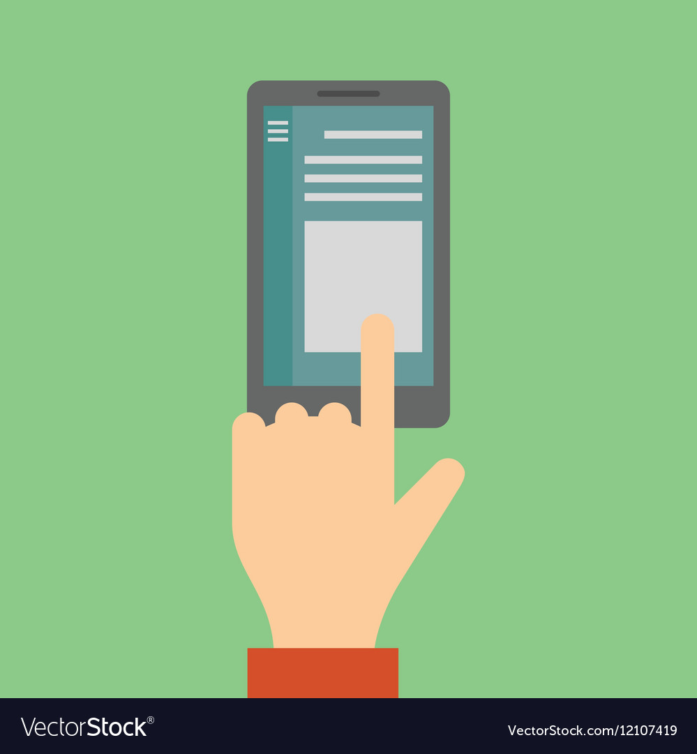 Finger touches screen smartphone vector image