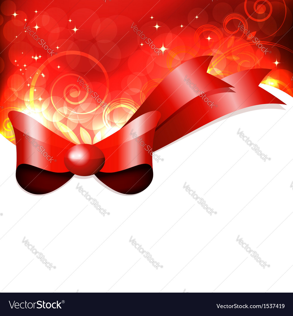 Red gift bow with floral curl vector image