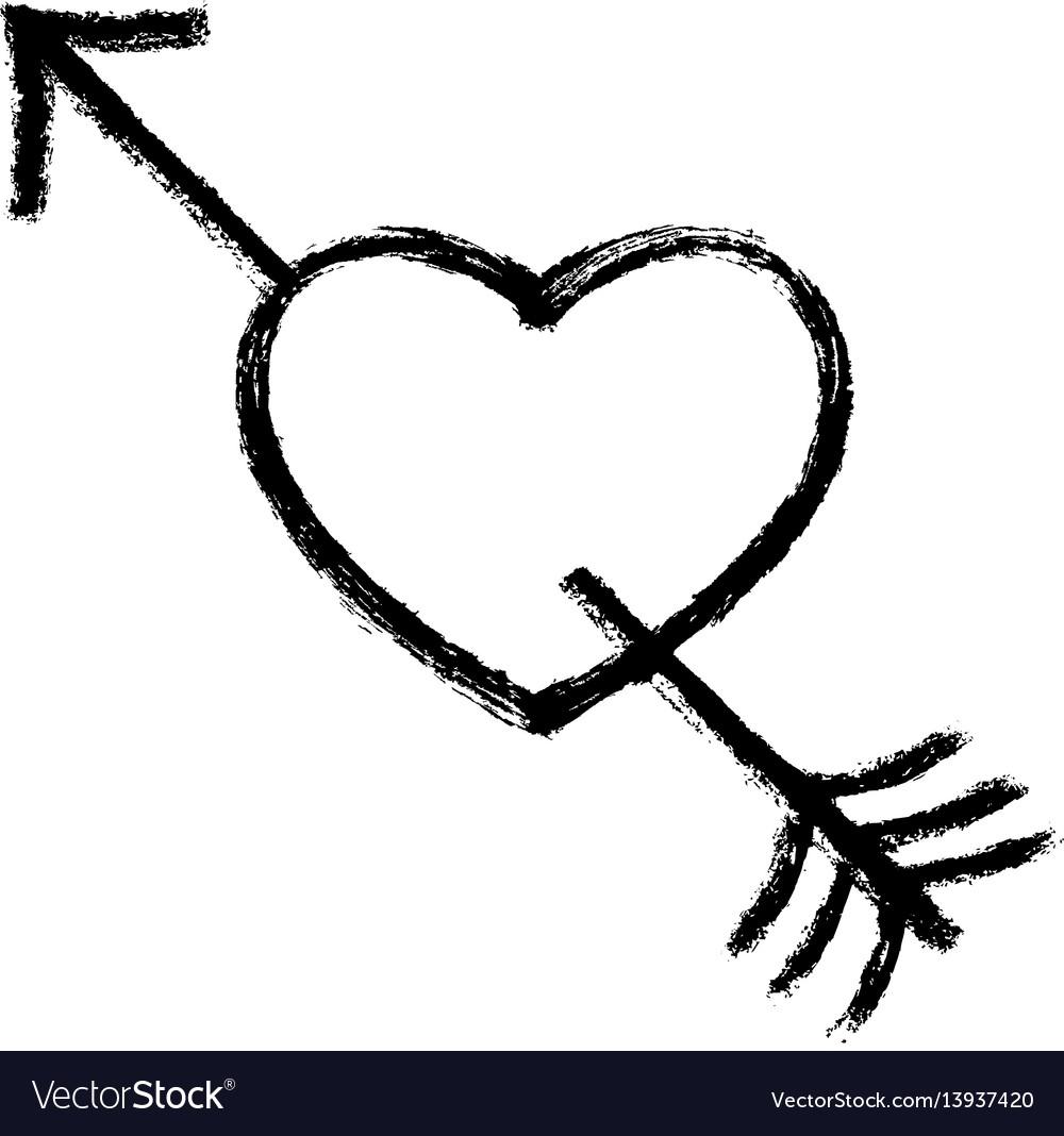 Black arrow piercing heart vector image