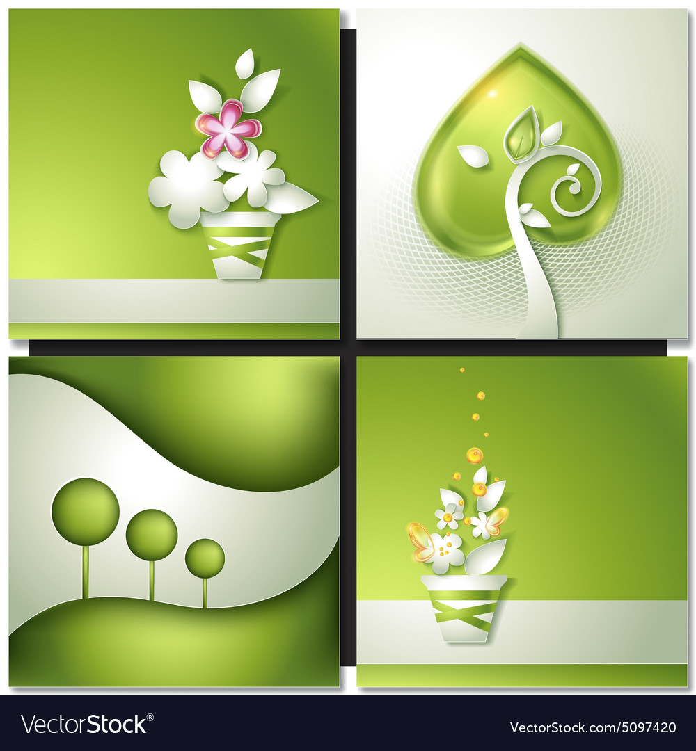 Card with abstract green paper backgrounds vector image