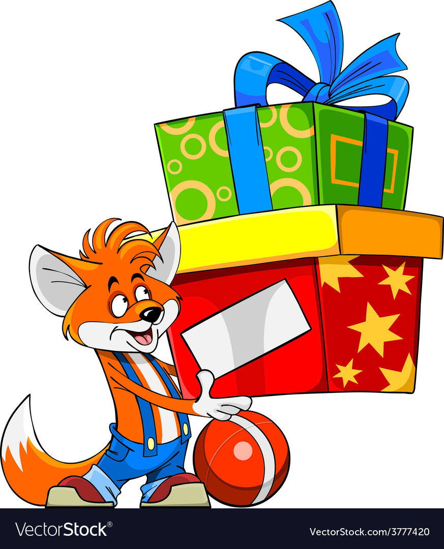 Cartoon fox holding a gift box royalty free vector image cartoon fox holding a gift box vector image negle Gallery