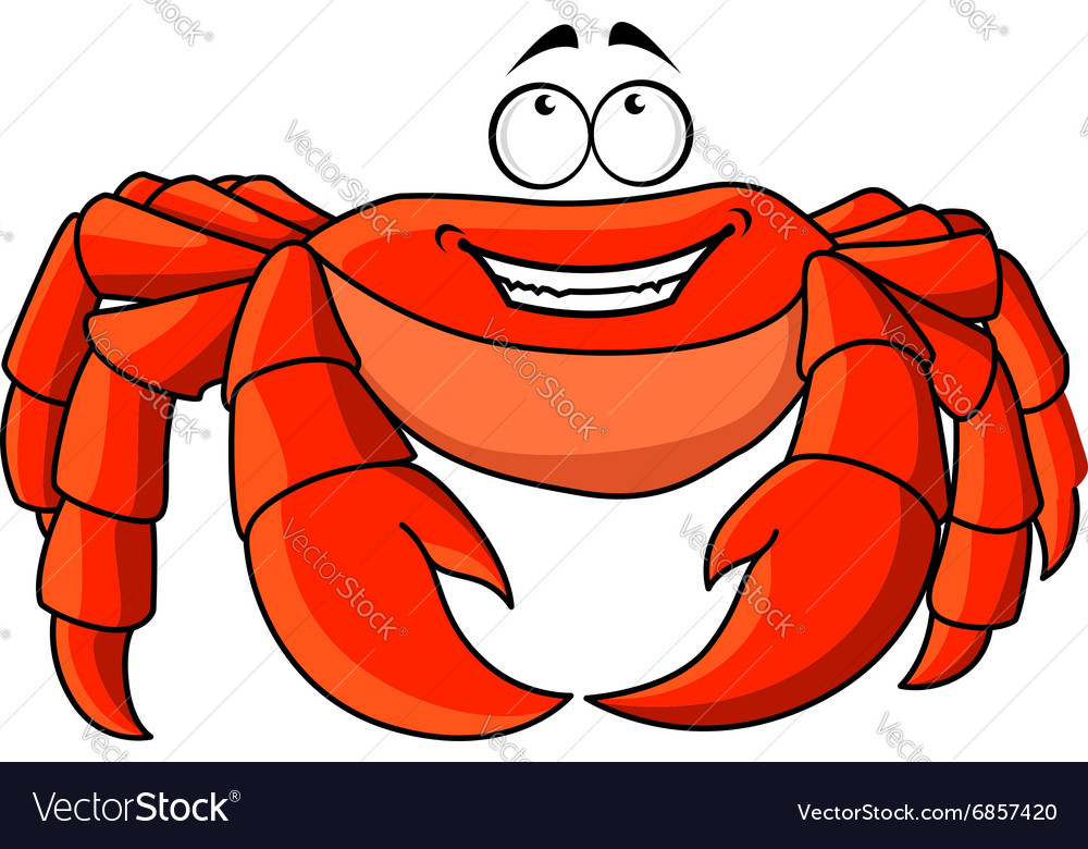 Friendly cartoon red crab with large pincers vector image