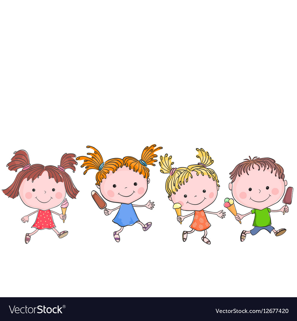 Group of happy kids with ice-cream vector image