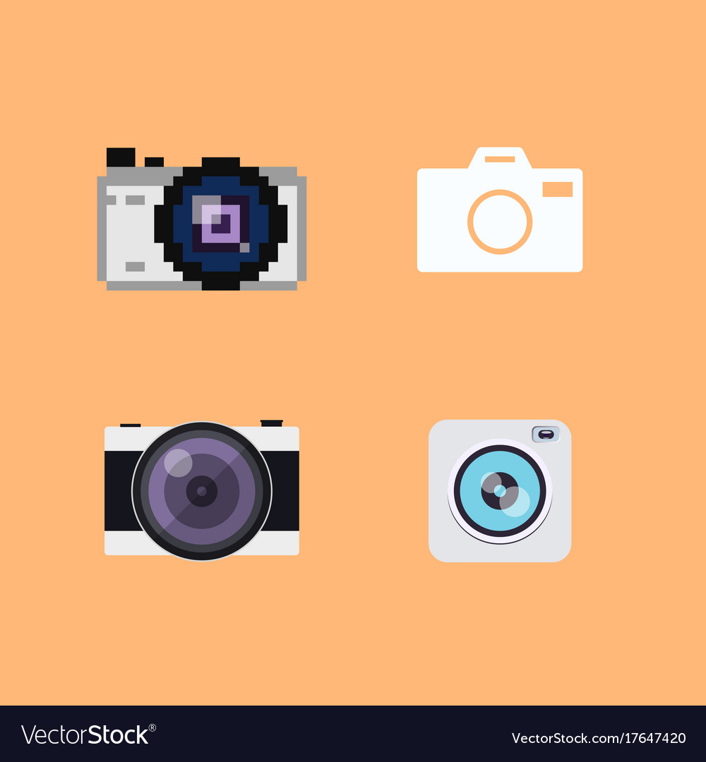 Set of camera flat icons vector image