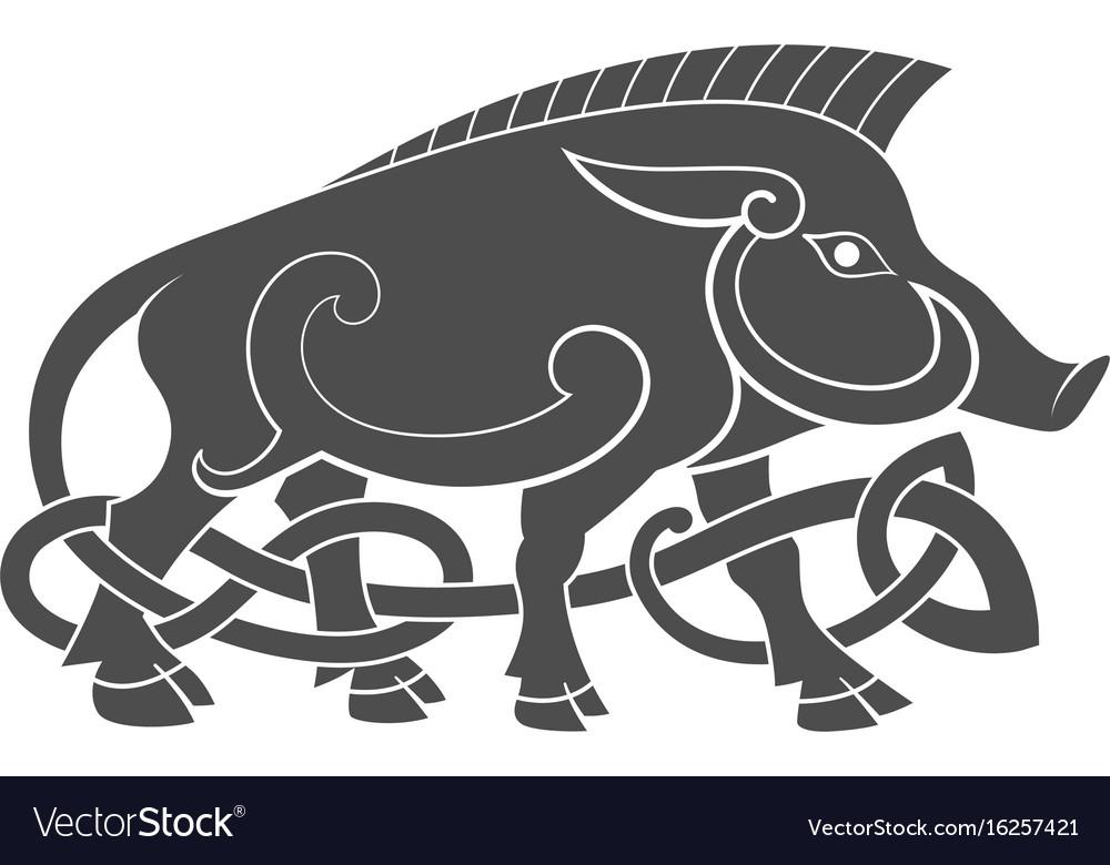 Ancient celtic mythological symbol of boar vector image