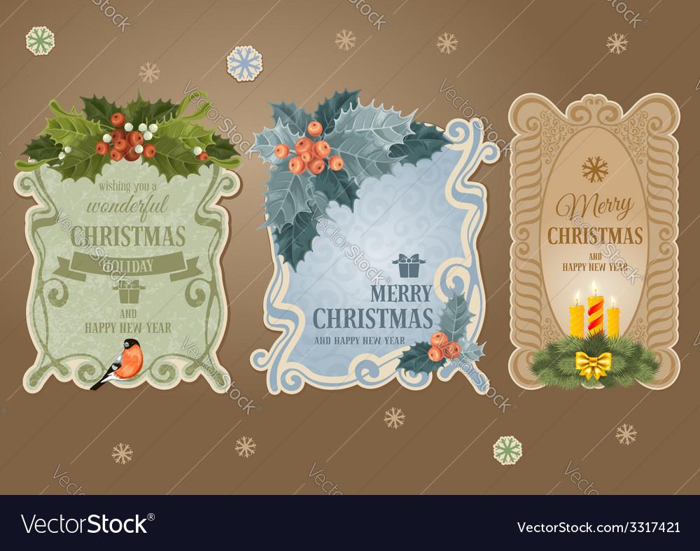 Christmas label set vector image
