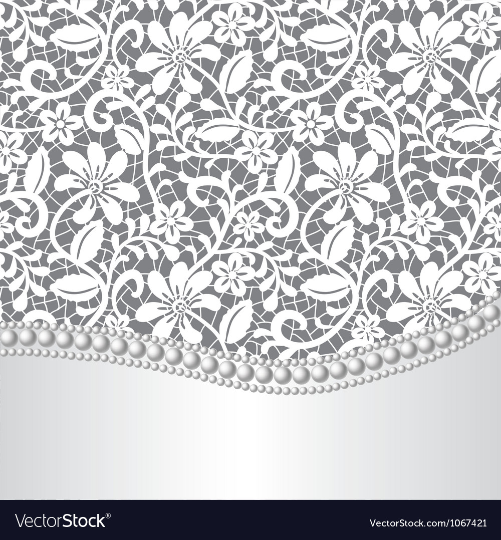 Lace silk and pearl vector image