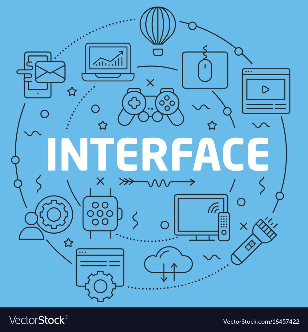 Blue line flat circle interface vector image