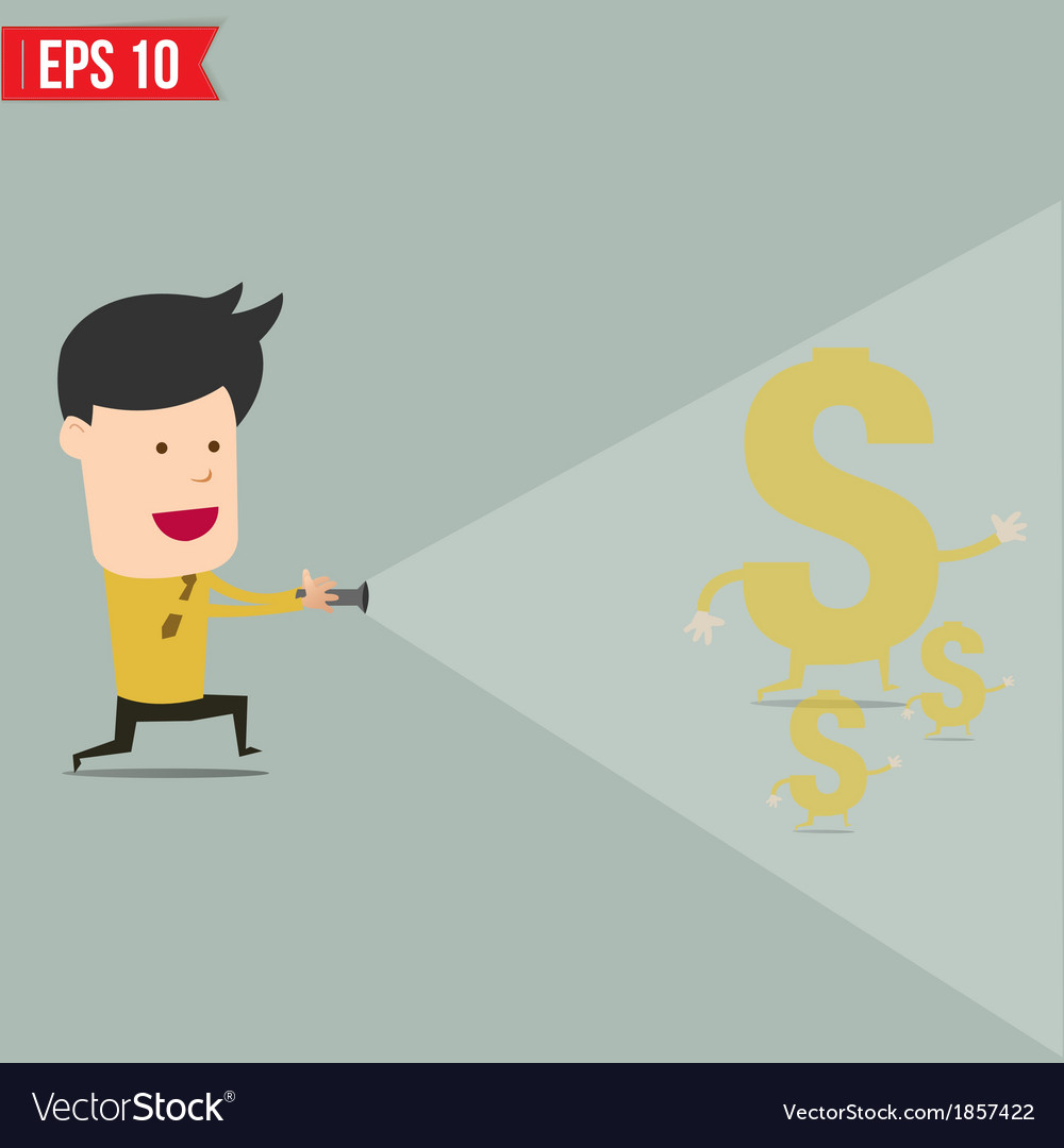 Businessman use flashlight find money vector image