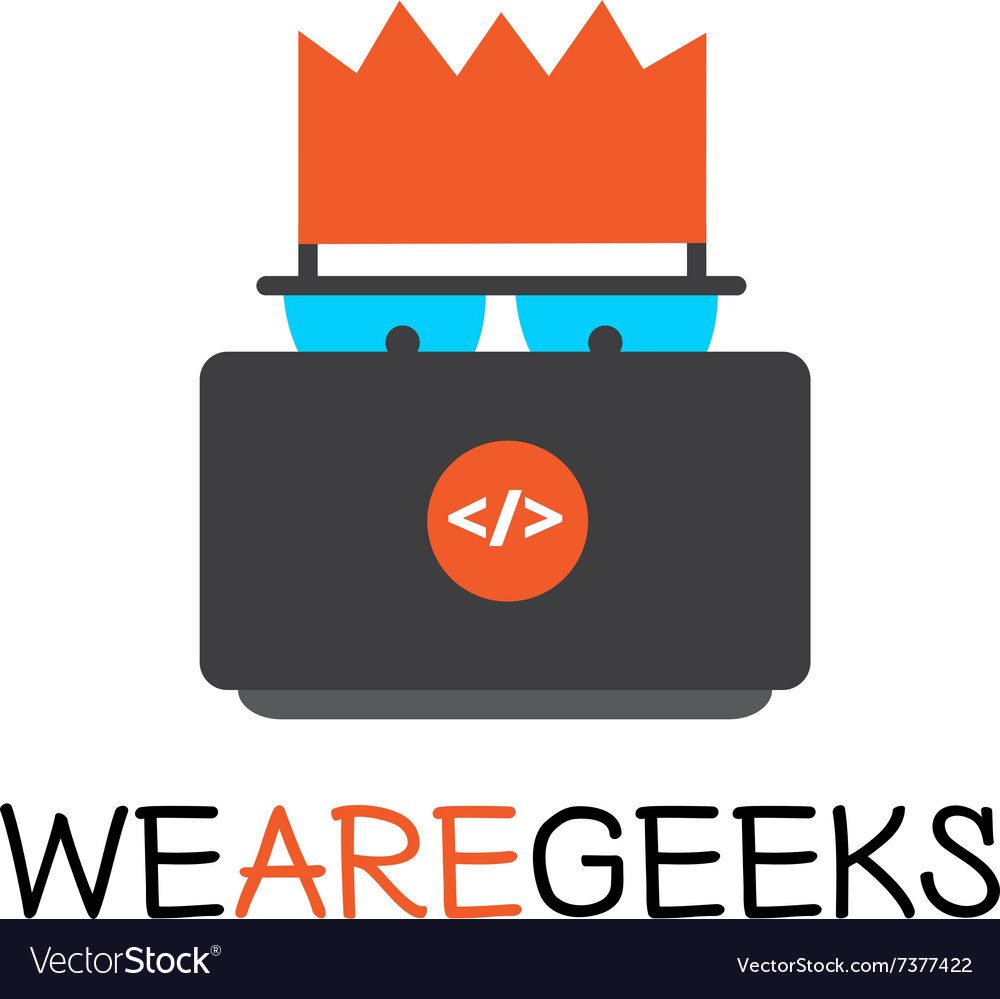 Creative geek logotype Modern flat vector image