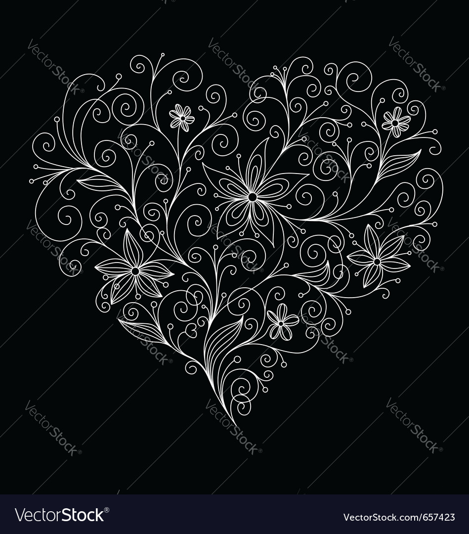 Abstract floral heart vector image