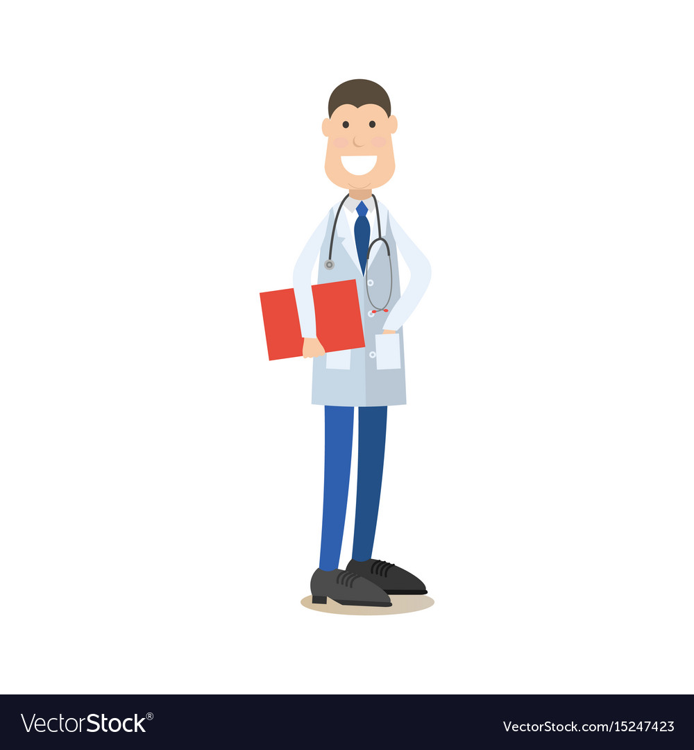 Medical doctor male in flat vector image