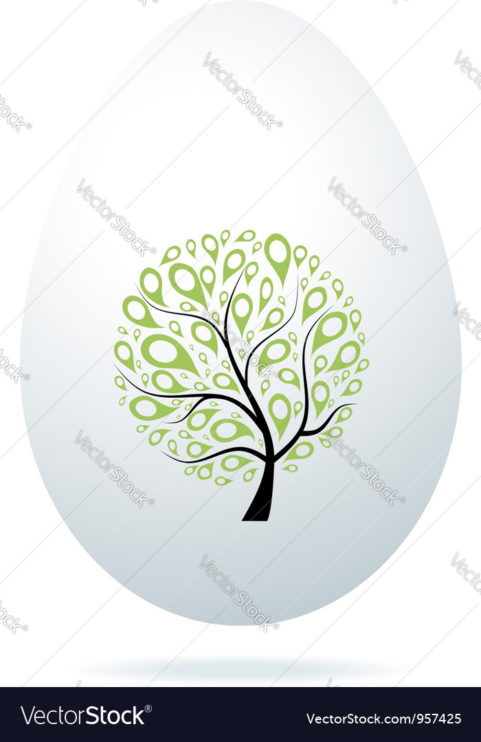 Easter egg white with art tree for your design vector image