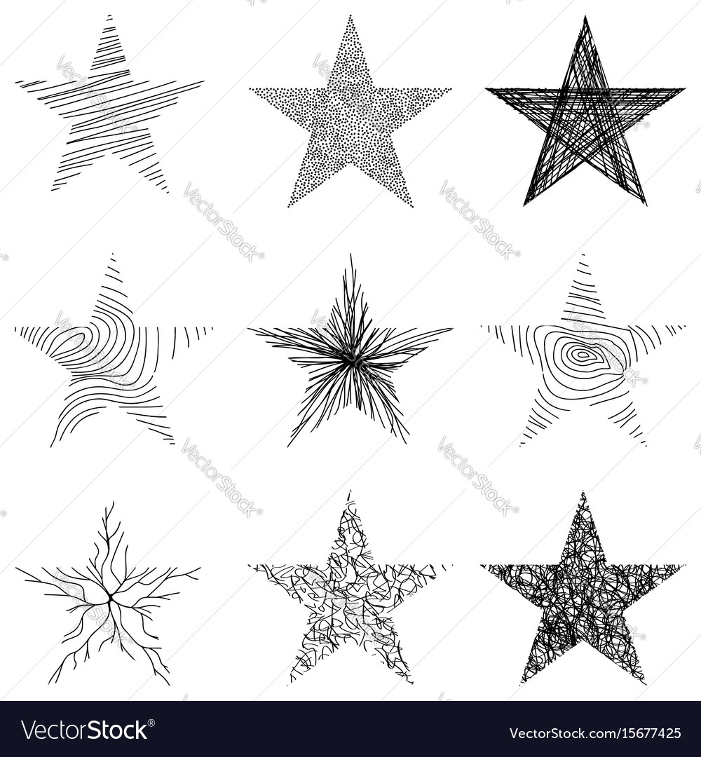 Hand-drawn sketch stars design vector image