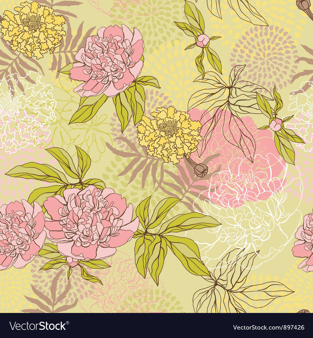 Seamless pattern with flowers Hand drawn Vector Image