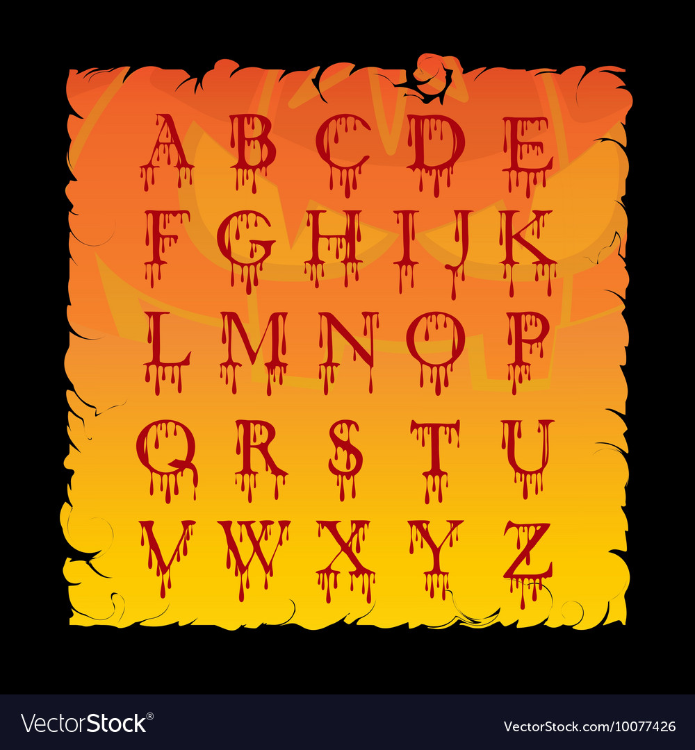 Bloody alphabet Letters Halloween cartoon style Vector Image