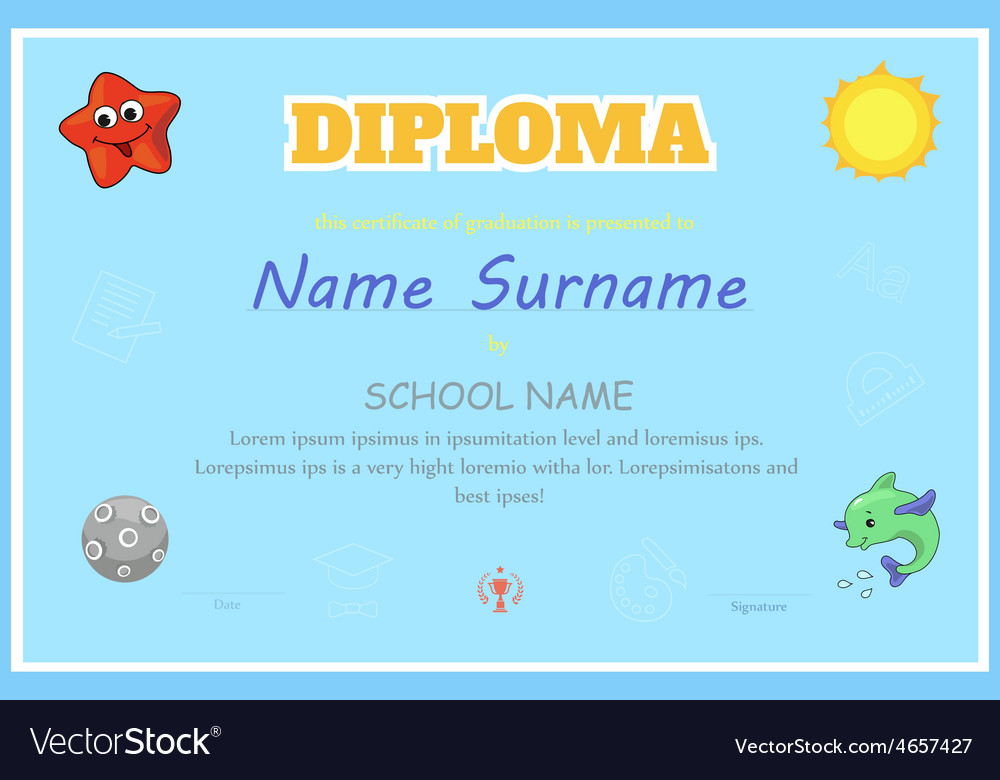 Preschool kids diploma certificate template vector image preschool kids diploma certificate design template vector image yadclub Image collections